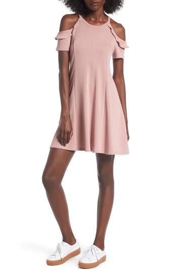 Lush Ruffle Cold Shoulder Dress, Pink