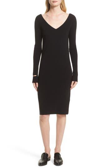 Helmut Lang Double V-Neck Wool Blend Dress, Black