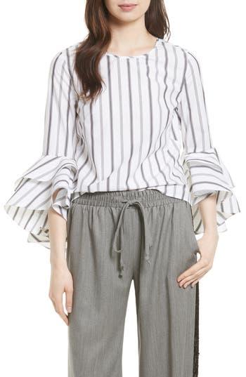 Women's Milly Gabby Stripe Bell Sleeve Top, Size 0 - White