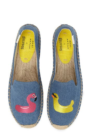 Soludos Embroidered Espadrille, Blue