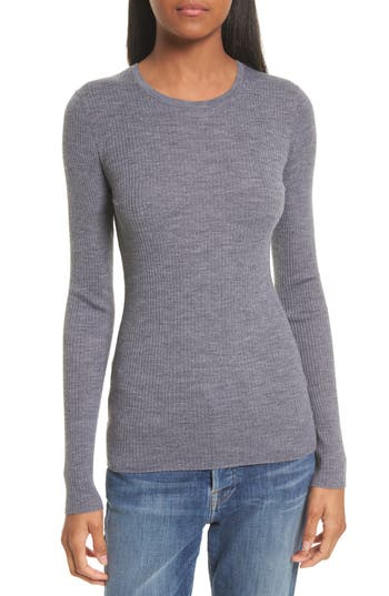 Theory Mirzi B Merino Wool Sweater, Size Petite - Grey