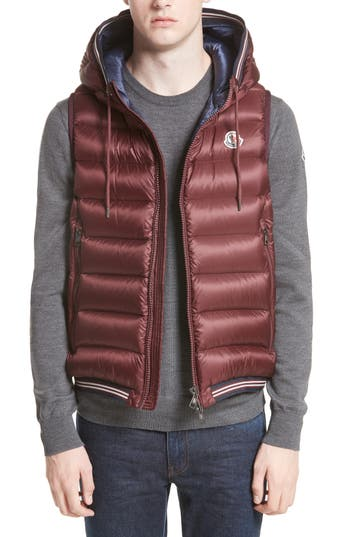 Moncler Ammiens Hooded Down Vest, Red