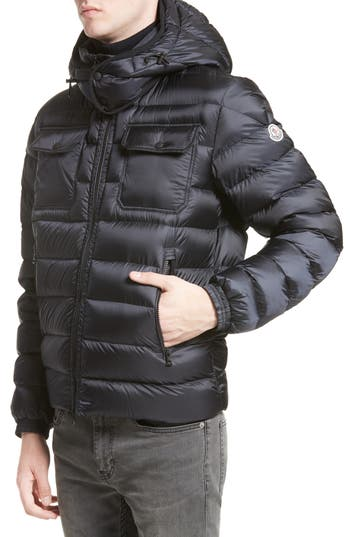 Moncler Valence Hooded Down Coat, Blue
