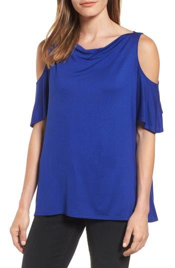 Michael Stars Cold Shoulder Top, Size One Size - Blue