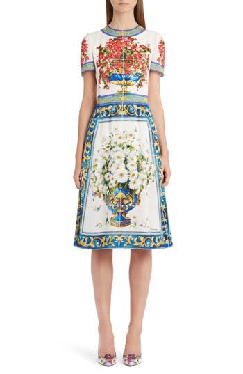 Dolce & gabbana Print Silk Fit & Flare Dress, US / 44 IT - White