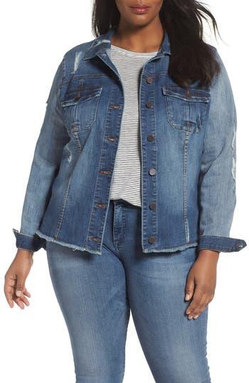 Plus Size Women's Kut From The Kloth Distressed Denim Jacket