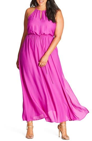 Plus Size City Chic Halter Maxi Dress, Purple