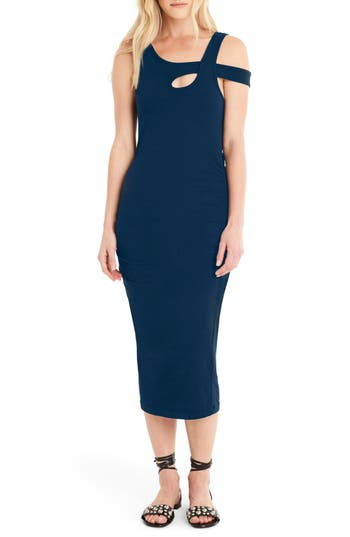 Michael Stars Crossover Strap Midi Dress, Blue