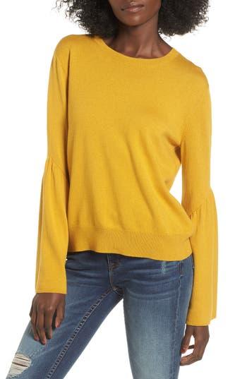 Women's Leith Bell Sleeve Sweater, Size Medium - Yellow