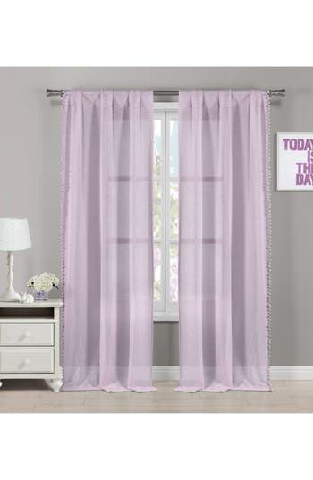 Lala + Bash Addyson Sheer Pompom Window Panels, Size One Size - Purple