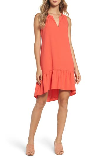 Women's Charles Henry High/low Ruffle Shift Dress, Size X-Large - Coral
