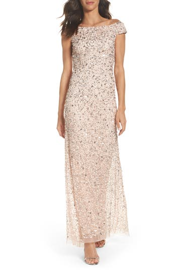 Adrianna Papell Sequin Mesh Gown, Pink