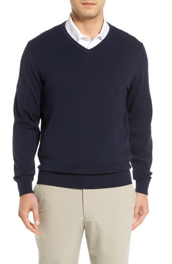 Big & Tall Cutter & Buck Lakemont V-Neck Sweater, Blue