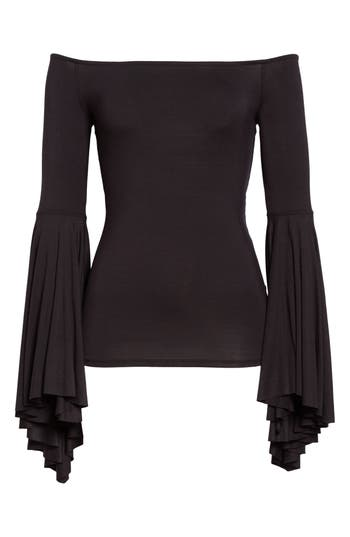 Free People Birds Of Paradise Off The Shoulder Top, Black