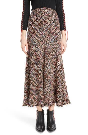 Women's Alexander Mcqueen Wishing Tree Tweed Skirt, Size 2 US / 38 IT - Black