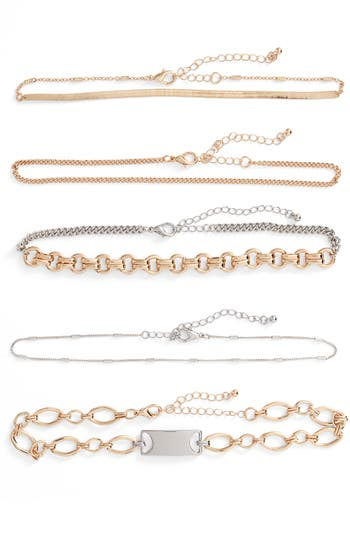 Women's Leith 5-Pack Mixed Metal Chokers