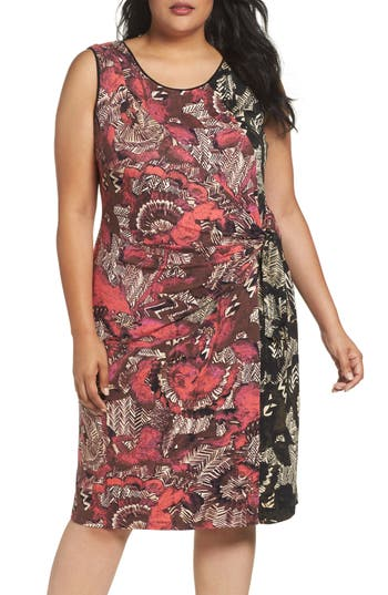 Plus Size Nic+Zoe Etched Floral Dress, Red