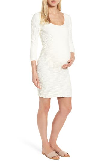 Tees By Tina Crinkle Maternity Sheath Dress, Size One Size - Ivory