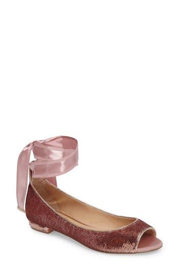 Jewel Badgley Mischka Ankle Strap Skimmer Flat- Metallic