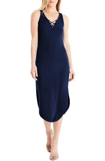 Michael Stars Front To Back Midi Dress, Blue