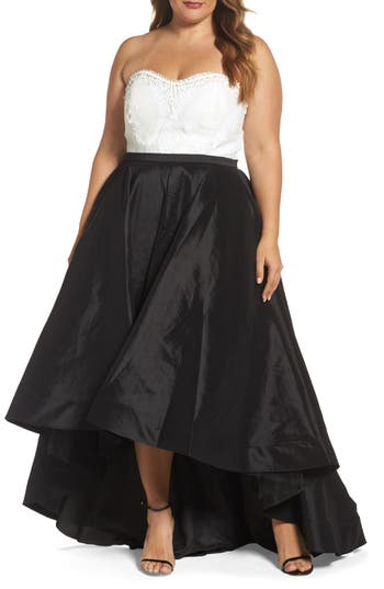 Plus Size MAC Duggal Embellished Lace & Taffeta Strapless High/low Gown, Black