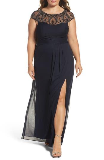 Plus Size Xscape Embellished Cap Sleeve Gown, Blue