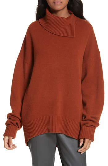 Joseph Split Turtleneck Wool Sweater, Brown