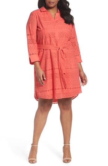 Plus Size Women's Foxcroft Taylor Eyelet Shirtdress, Size 16W - Coral