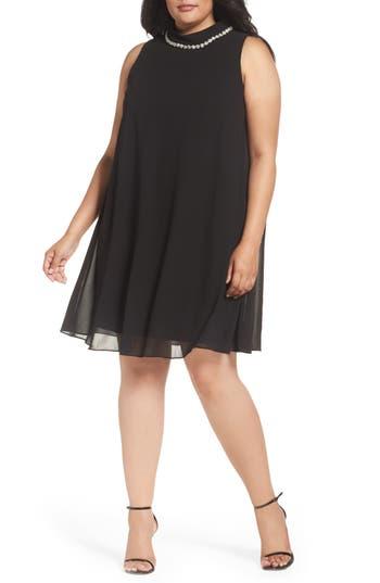 Plus Size Eliza J Embellished Chiffon Trapeze Dress