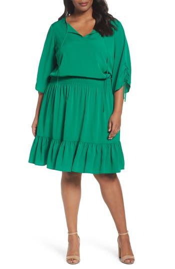 Plus Size Eliza J Ruched Sleeve Blouson Dress, Green