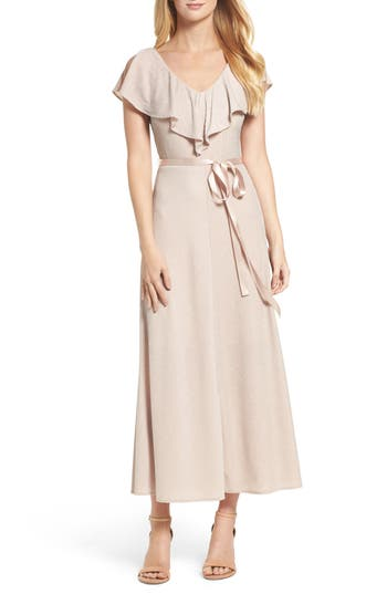 Taylor Dresses Ruffle Maxi Dress, Beige