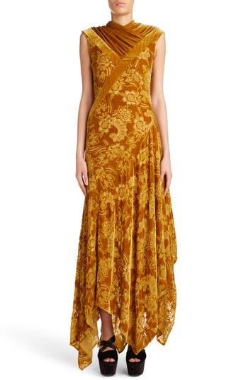 Erdem Velvet Devore Handkerchief Hem Gown, US / 12 UK - Metallic