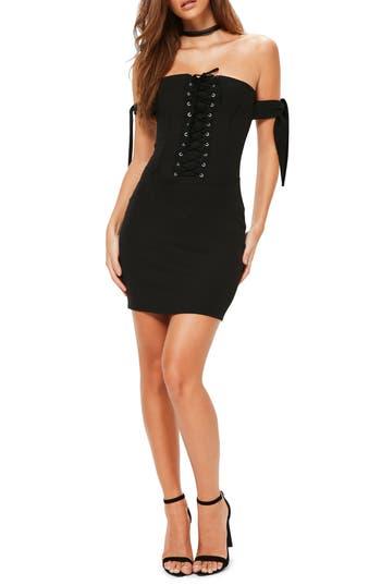 Missguided Bardot Corset Sleeve Body-Con Dress, US / 6 UK - Black