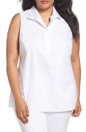 Plus Size Foxcroft Dani Button Back Sleeveless Top, White
