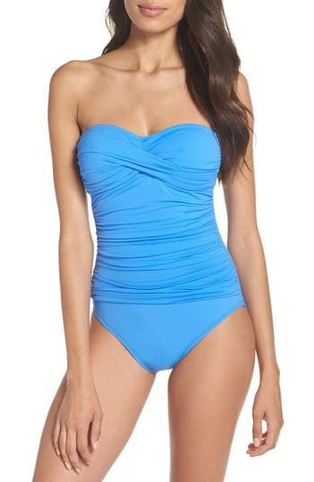 La Blanca Twist Front Bandeau One-Piece Swimsuit, Blue