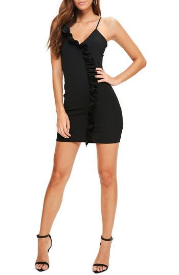 Missguided Ruffle Body-Con Dress, US / 8 UK - Black