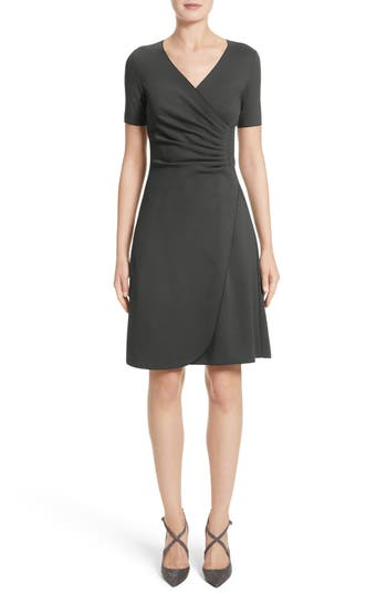 Women's Armani Collezioni Milano Jersey Faux Wrap Dress, Size 8 - Grey