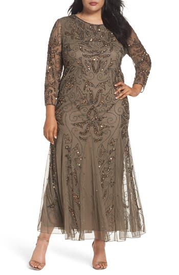 Plus Size Pisarro Nights Embellished Three Quarter Sleeve Gown, Brown