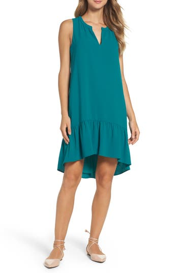 Women's Charles Henry High/low Ruffle Shift Dress, Size Medium - Blue