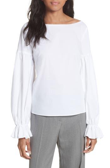 Women's Milly Linda Blouson Sleeve Top, Size Petite - White