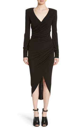 Women's Michael Kors Stretch Jersey Wrap Dress, Size 2 - Black