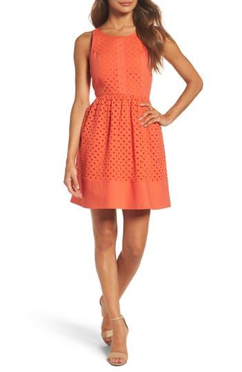 Women's Nsr Eyelet Fit & Flare Dress