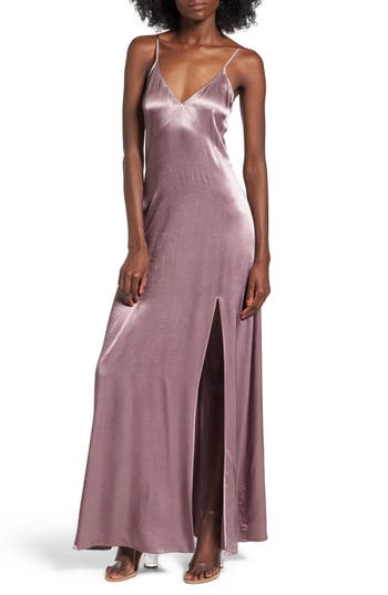 Leith Satin Maxi Dress, Purple
