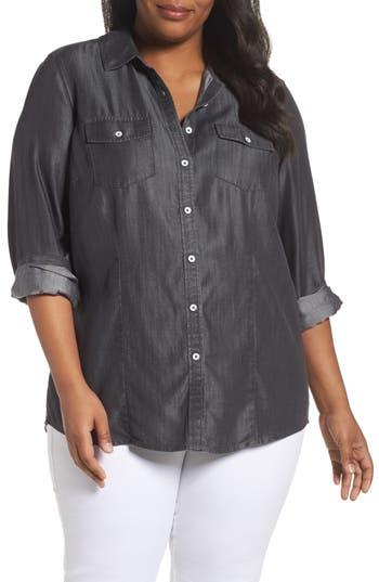 Plus Size Foxcroft Dylan Woven Tencel Shirt, Grey