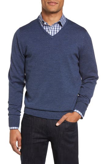 Big & Tall Nordstrom Shop V-Neck Merino Wool Sweater, Blue