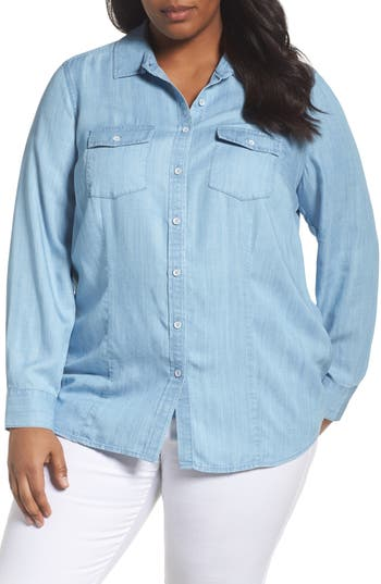 Plus Size Women's Foxcroft Dylan Woven Tencel Shirt
