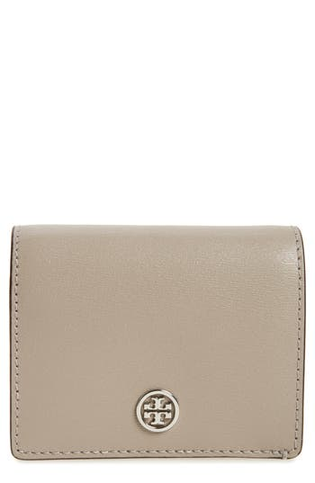 Tory Burch Parker Foldable Mini Leather Wallet - Grey