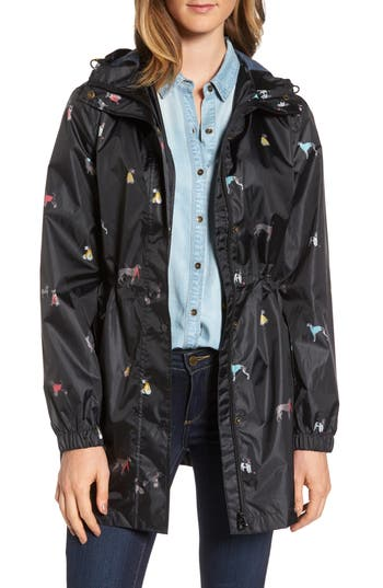 Women's Joules Right As Rain Packable Print Hooded Raincoat, Size 2 - Black