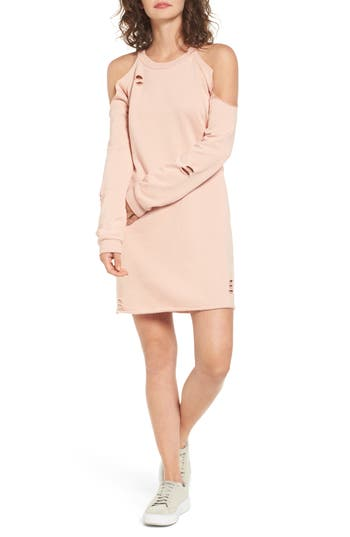 Socialite Cold-Shoulder Sweatshirt Dress, Pink