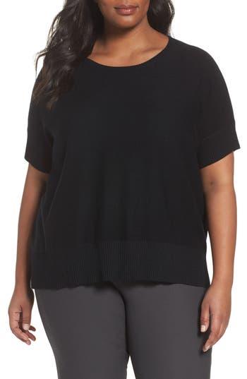 Plus Size Eileen Fisher Tencel & Merino Wool Top, Black